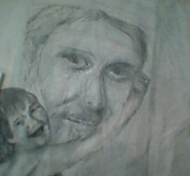 Under-painting-begins-of-Sydney-painting-Grandpa